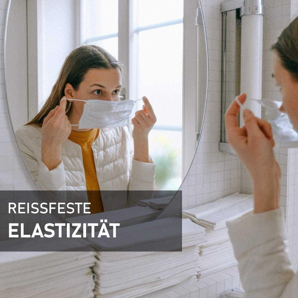 Behelfsmasken MAGATI Gummiband elastische Flache kochfeste Gummilitze zum N/ähen Basteln von DIY Community-Masken Mund-Nasenbedeckungen Hellgrau, 5m x 5mm