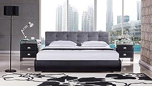 American Eagle Furniture B-D055 Modern Platform Bed with Fabric Upholstered Headboard, Eastern King, Grey