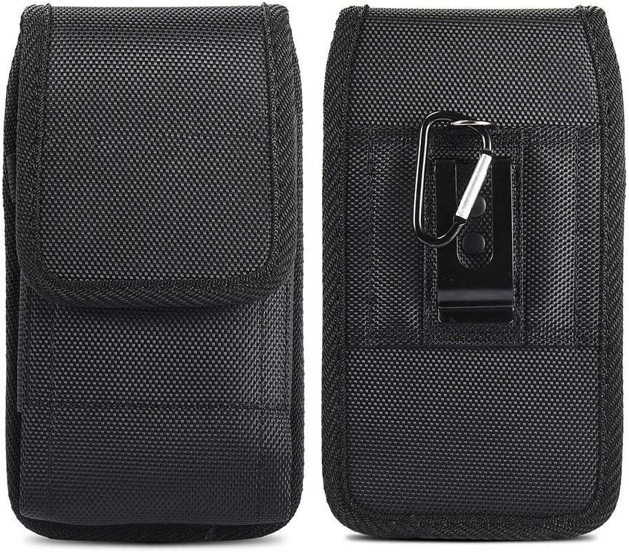 JIUNINE Funda Bolsa de Cinturó para Blackview BV5500 Pro, Vertical Lienzo Oxford Case con Clip de Cinturón de Acero Carcasa para Hafury Note 10 / Wiko Y80 / View3 5,7-6,3 Pulgadas Smartphone, Negro