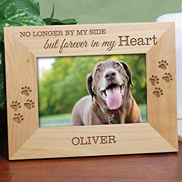personalized forever in my heart pet memorial engraved wooden picture frame - Dog Memorial Frame