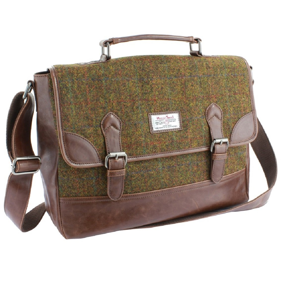 The Stornoway Harris Tweed Brown/Green Briefcase