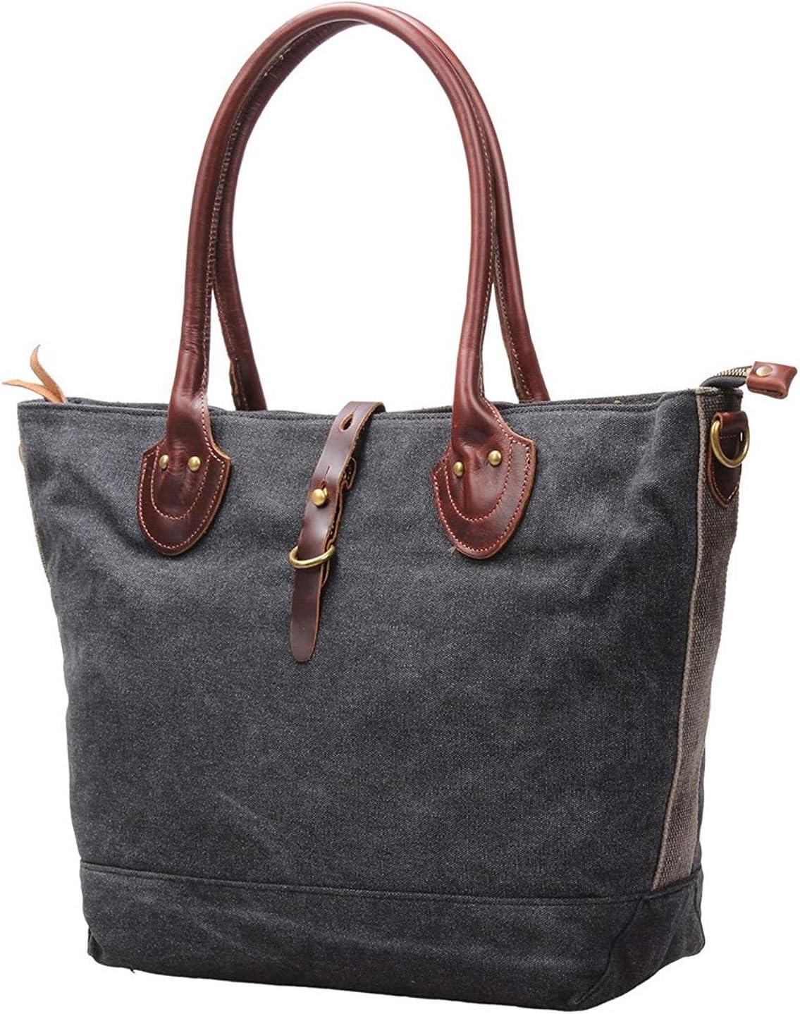 Womens Vintage Canvas Hobo Tote Handbag Leather Shoulder Bags Large M65 (045 grey)