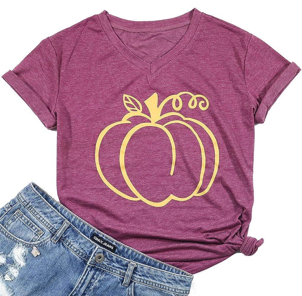 Halloween Pumpkin Funny T-Shirt Women Short Sleeve v-Neck Casual Tee Tops UNIQUEONE