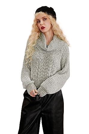 Elf Sack Women Basic Pullover Sweater Long Sleeve Turtleneck Chunky