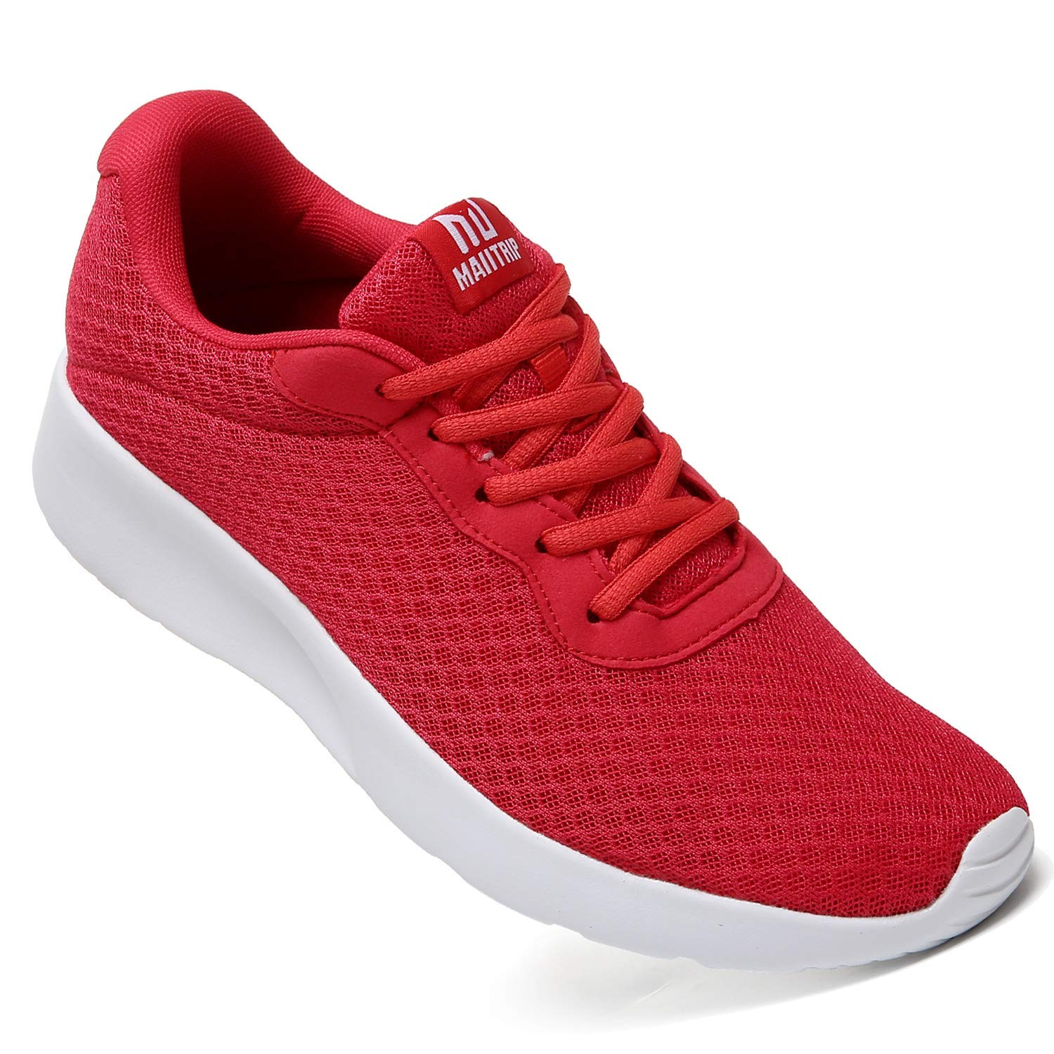 MAITRIP Mens Gym Shoes,Athletic Running Shoes,Lightweight Breathable Mesh Casual Tennis Sports Workout Walking Sneakers,Red,Size 7