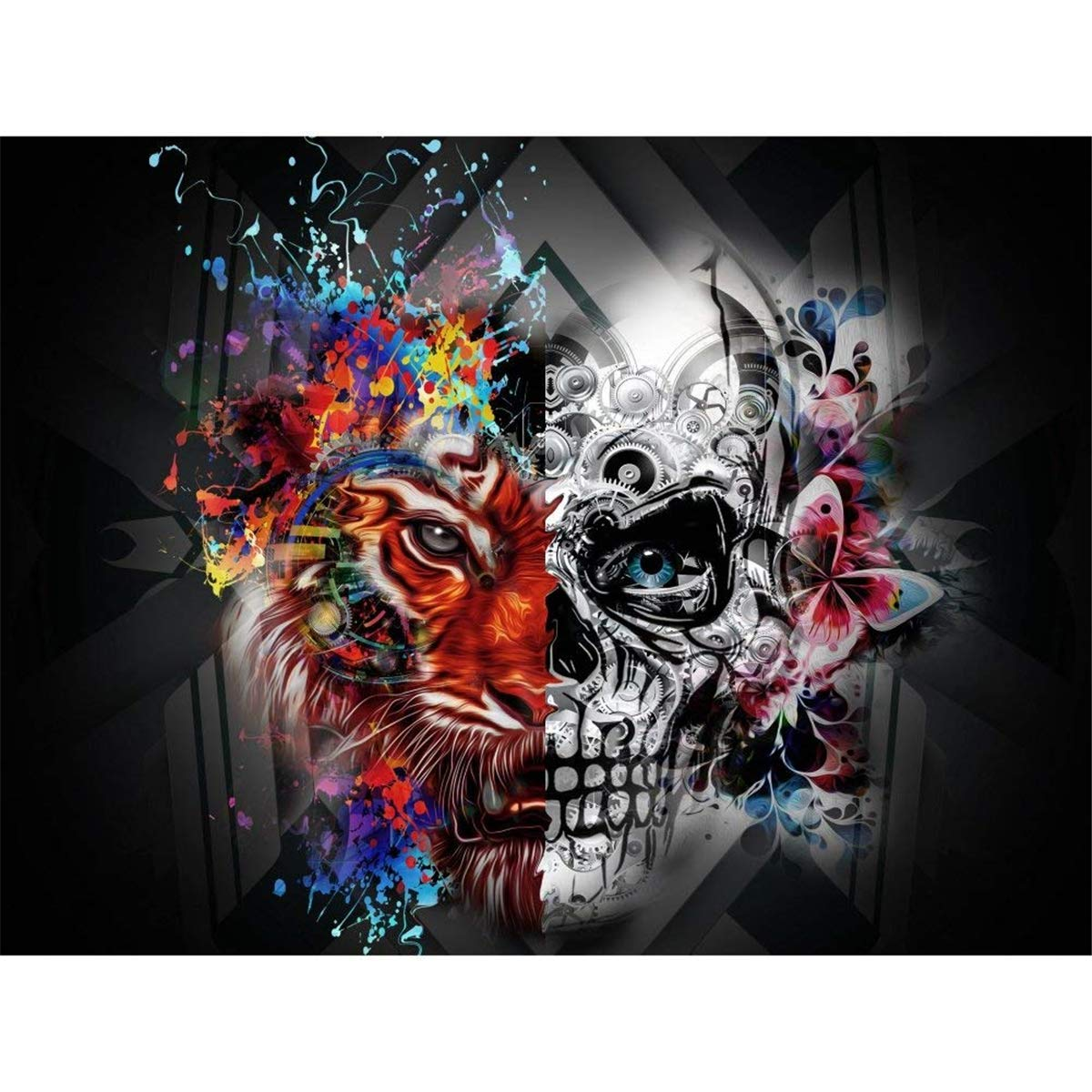 DIY Cross Stitch Crystal Mosaic Picture Artwork for Home Wall Decor Gift 40x30cm 5D Diamond Painting Kits for Adults Skull Head Full Drill