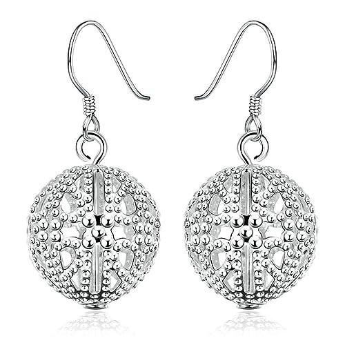 53315e49f6fc KNSAM - Pendientes Mujer Filigrana Redondo Bola Bead Blanco Cristal Bañado  con Plata 925 Aretes para Novias  Amazon.es  Joyería