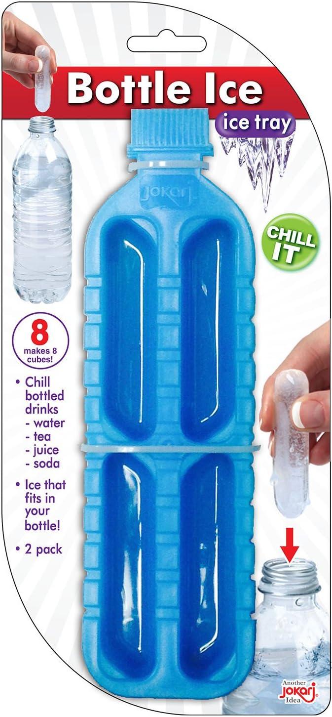 Jokari 160940 - Botella de hielo - Bandeja de hielo - Hace cubitos de hielo cilíndricos para caber dentro de una botella - Azul - Pack de 2