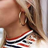Doubnine Tube Hoop Earrings Gold Lightweight Large Earrings Women Fashion Jewelry Earrings (40mm, gold)