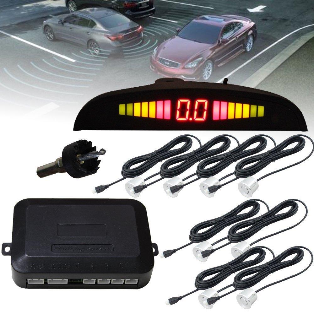 Hengda® Sensori di Parcheggio,Car Vehicle Reverse backup radar sistema Auto posteriore di allarme con display Led e 4 Nero Sensori