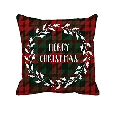 Red Black Plaids Merry Christmas Throw Pillow Case Cushion Cover Decorative 18 x 18 Inch