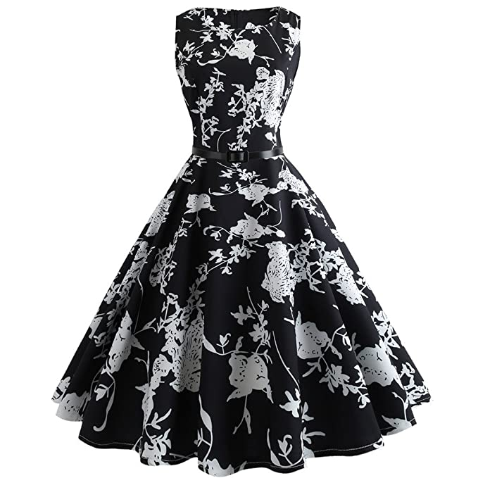 09afcdaf59fe0 Women Summer Dress,Women Vintage Bodycon Sleeveless Dress Retro Casual  Evening Party Prom Swing Dress 2019