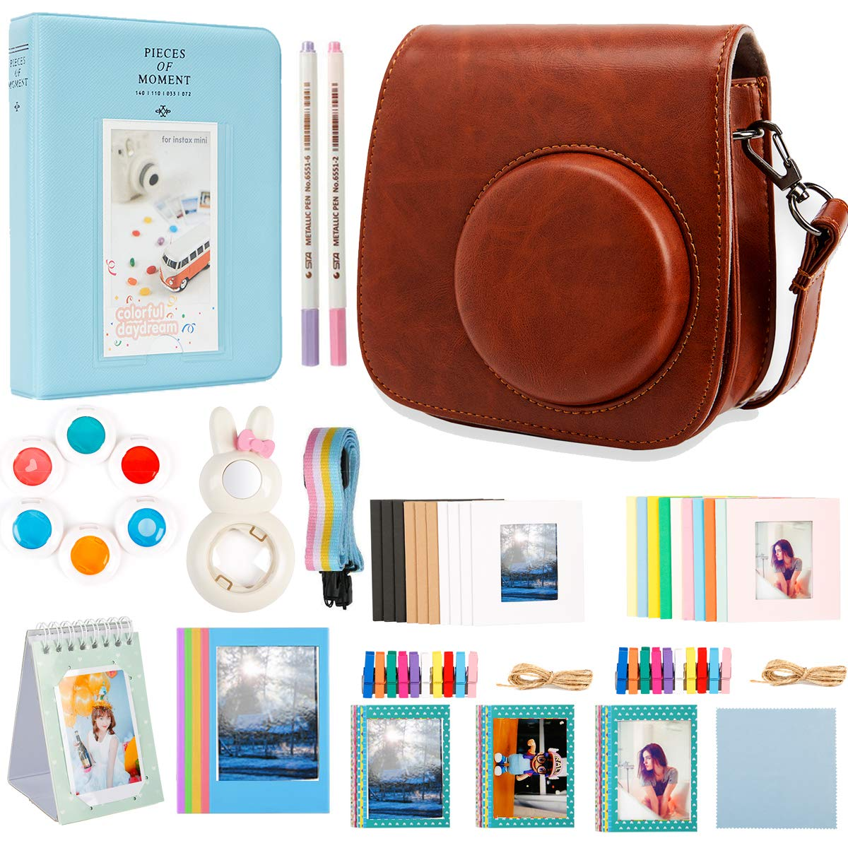 Alohallo Instax Mini 9 Mini 8 Mini 8 + Accessories for FujiFilm Instax Mini 8/8+/ 9 Instant Film Camera with Camera Case/Lens/Mini Album/Color Frame/Sticker/Strap/Pens/Filter(Universe)