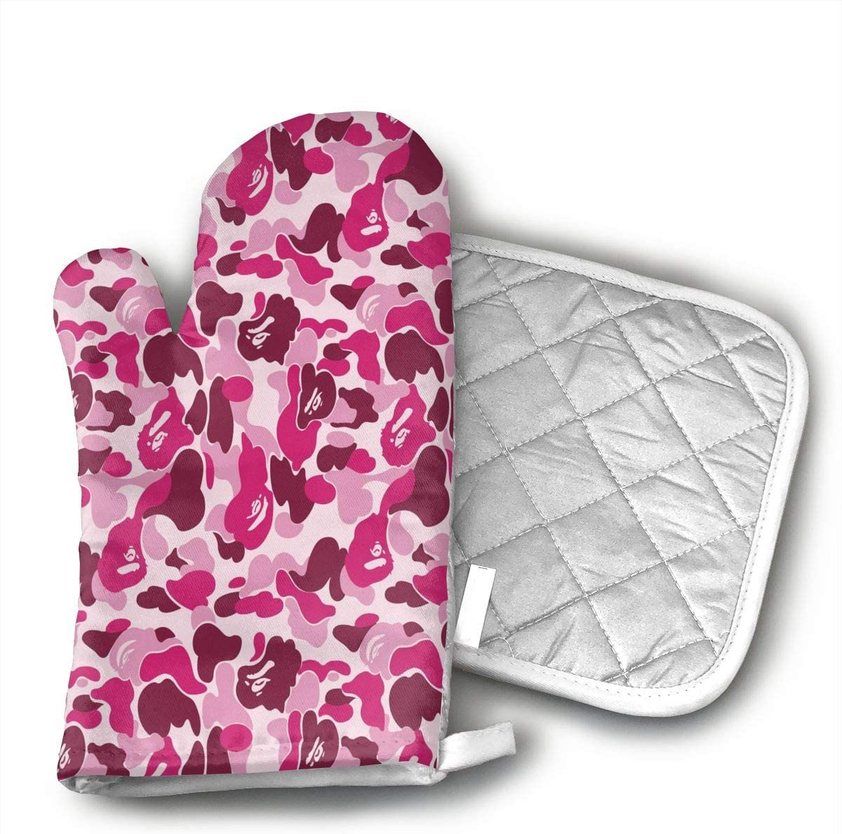 Pink Camo Oven Mitts, Professional Heat Resistant Microwave BBQ Oven Insulation Thickening Cotton Gloves Baking Pot Mitts with Soft Inner Lining