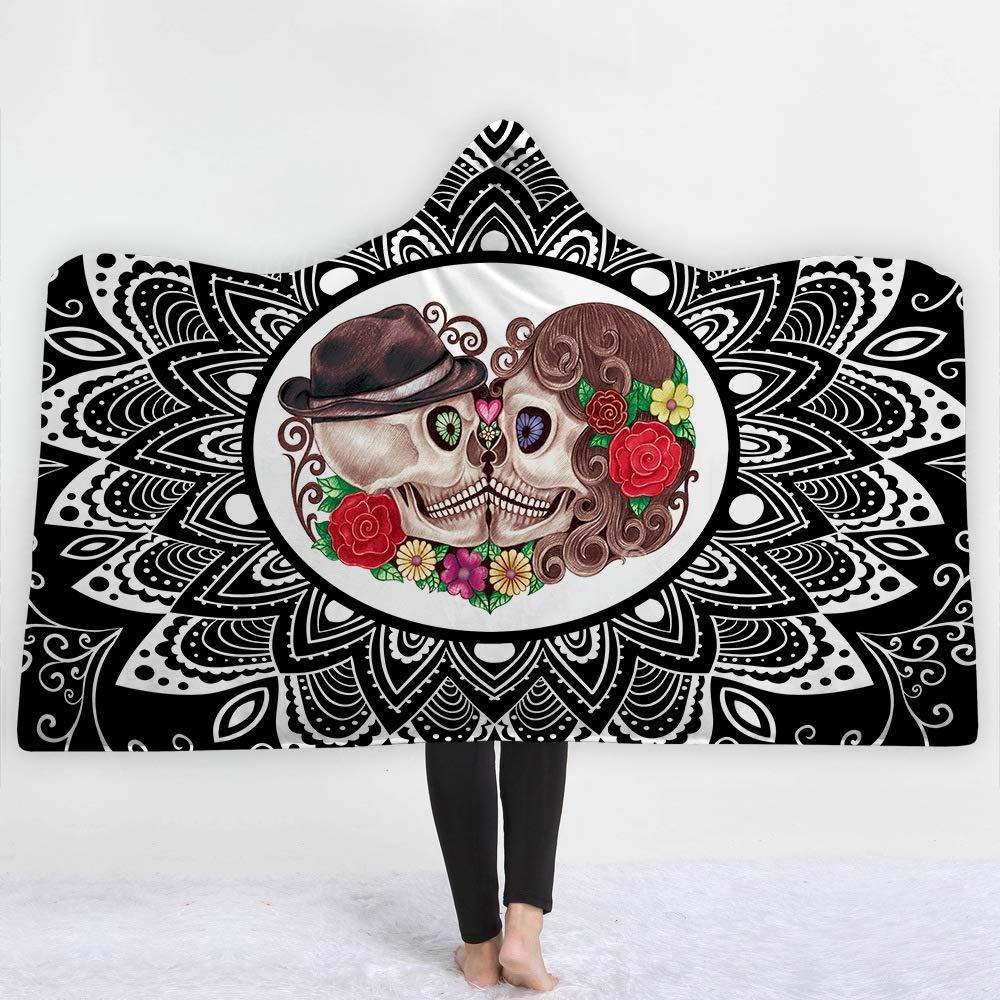 FGVBWE4R Plaid Skull 3D Couverture à Capuche en Peluche imprimée pour Lits Canapés Crânes Épaissir Chaud Wearable Soft Fleece Throw Blankets-Skull-1, 130 * 150cm-560g