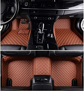 Custom Car Floor Mats for Land Rover Range-Rover-Sport 2010-2013 Full Surrounded Waterproof Anti-Slip All Weather Protection Leather Material Car mat Carpet Liners Brown