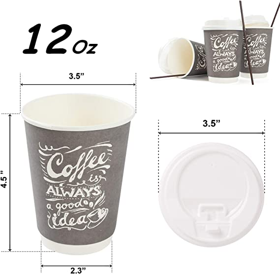 To Go Disposable Hot Coffee Cups with Lids & Stirrers   12oz 50pcs Pack Double Wall, Recyclable, Insulated   No Sleeves Need   Takeaway Paper Cups for