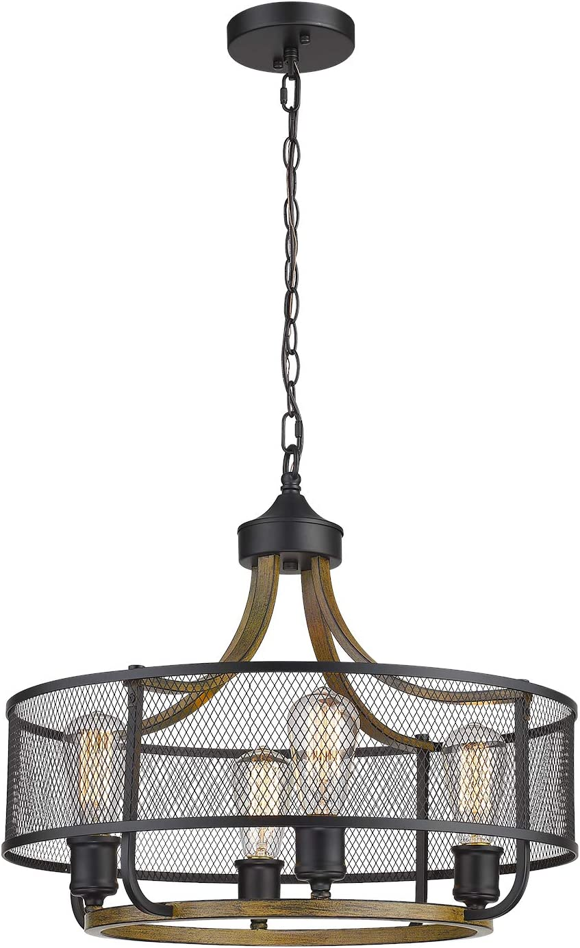 Osimir 4-Light Chandelier Lighting, Modern Indoor Pendant Light Fixture for Kitchen Island, Living Dining Room, Ceiling Lights in Matte Black Wood Finish with Metal Grid Lamp Shade CH9166-4