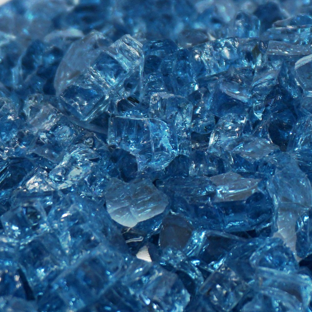 Pacific Blue / Blue Lagoon ''Fire Glass'' - 1/4 Inch - 10 Pounds - Designed for Fire Pits and Fireplaces