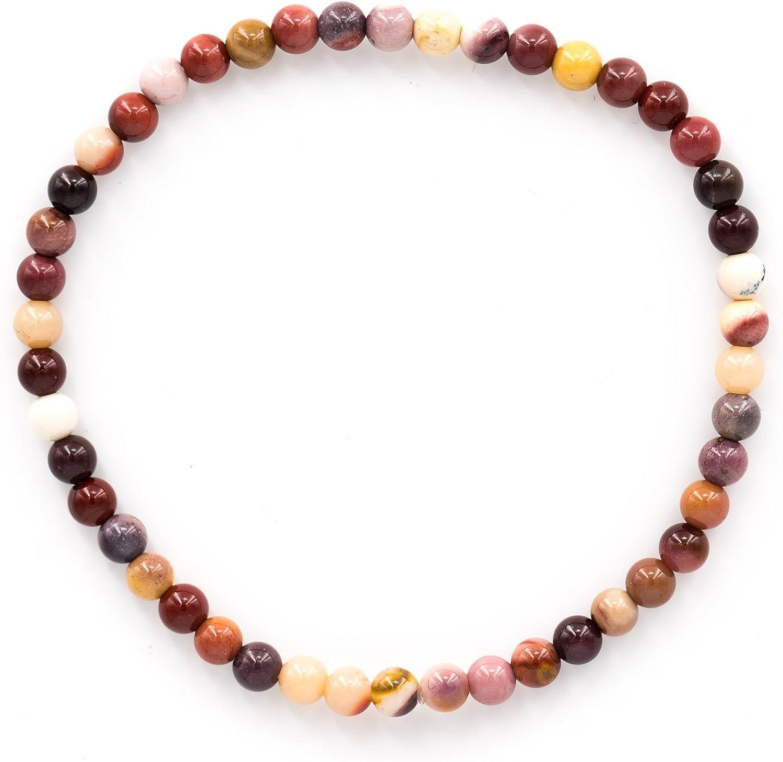 Taddart Minerals – Pulsera Piedra Preciosa Natural con Bolas de 4 mm en Hilo elástico de Nailon – Hecha a Mano.