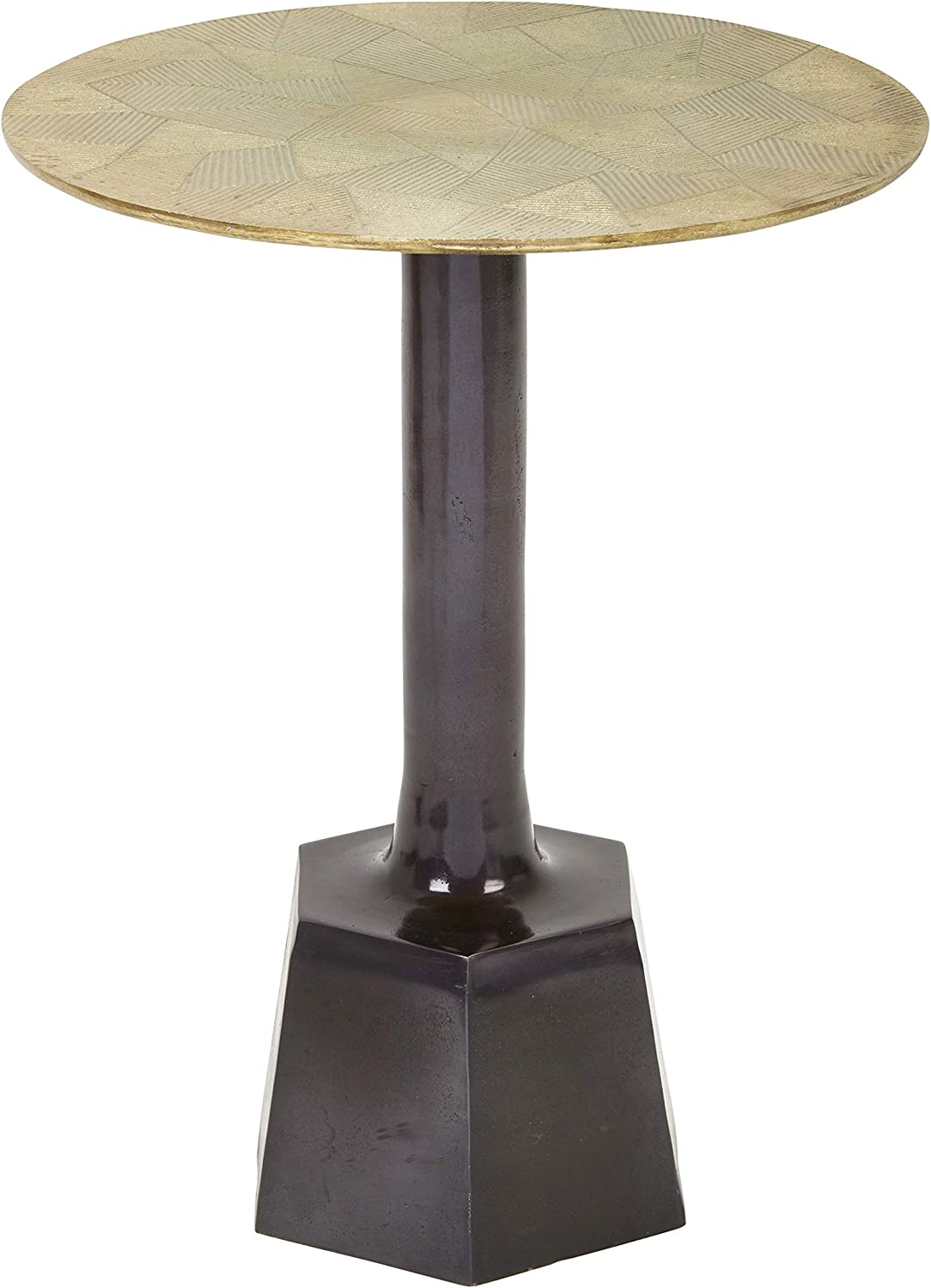 - Benjara Brown Aluminum Accent Table With Round Top And Hexagonal