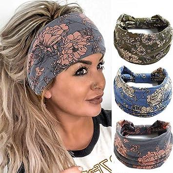 Women/'s Hairband Headband Floral Print Wide Hair Band Hair Accessories、