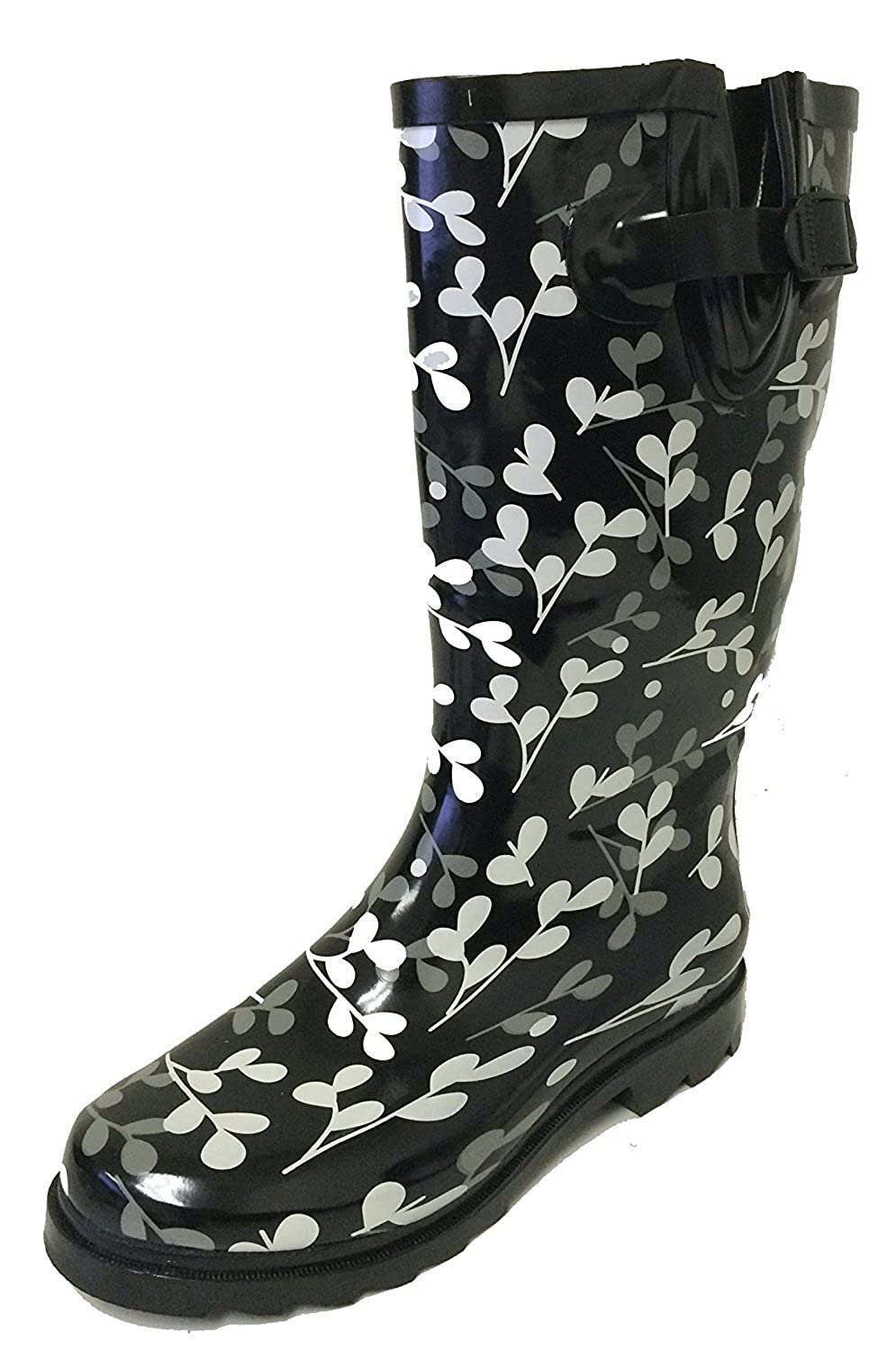 Black Leaf G4U Women's Rain Boots Multiple Styles color Mid Calf Wellies Buckle Fashion Rubber Knee High Snow shoes