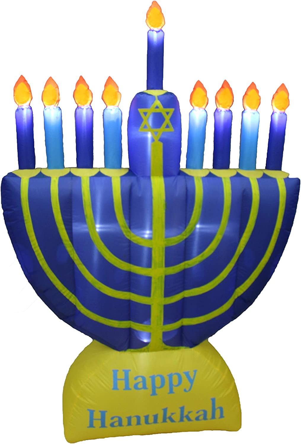 6 Foot Tall Inflatable Happy Hanukkah Menorah Candles Scene Outdoor Indoor Holiday Decorations, Blow Up LED Lights Lighted Yard Decor, Giant Lawn Inflatables for Home Family Party
