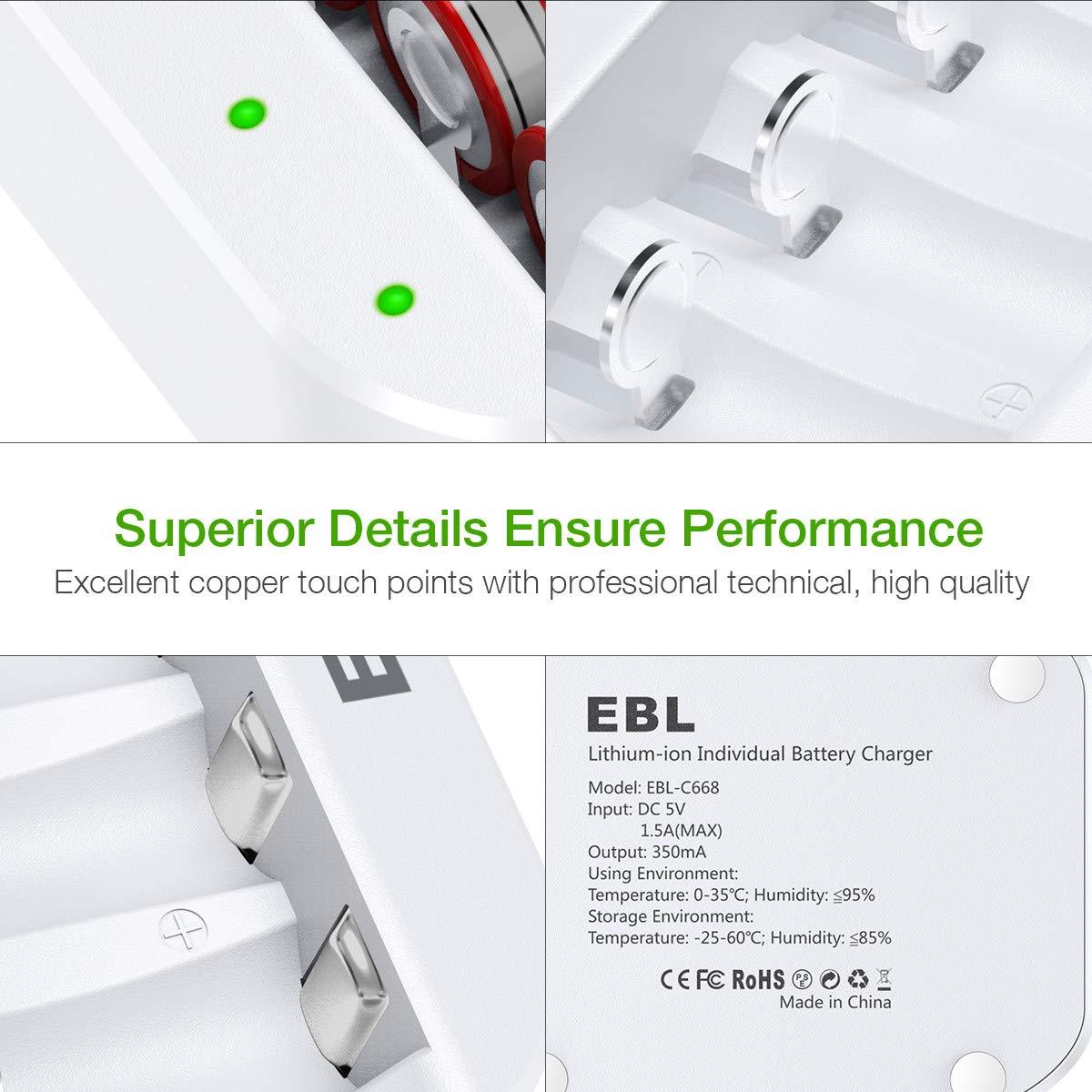 Amazon.com: EBL RCR123A - Cargador de batería para pilas ...