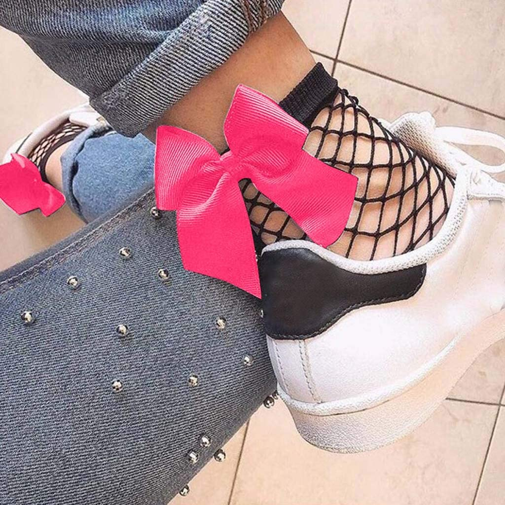 Womens Ruffle Bowknot Fishnet Ankle High Socks Mesh Lace Fish Net Short Socks
