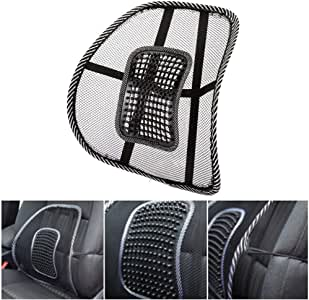 1Pcs Air Flow Lumbar Support Cushionwith Elasticated Positioning Strap for Car Seat or Chair Back Rest