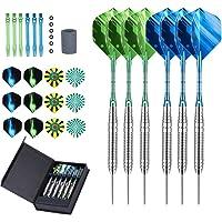LARRITS Set van 6 stalen dartpijlen met metalen punt, stalen darts met aluminium shaft, inclusief 18 flights, 6 rubberen…
