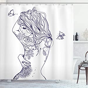 """Ambesonne Fashion Shower Curtain, Young Girl with Tattoos Butterflies Free Your Soul Inspired Long Hair Feminine, Cloth Fabric Bathroom Decor Set with Hooks, 70"""" Long, Purple White"""