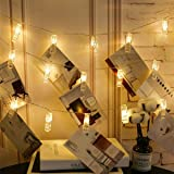 Warm White 20 LED Photos Clips String Lights, Battery Operated Fairy Twinkle Lights for DIY Wedding Party Christmas…