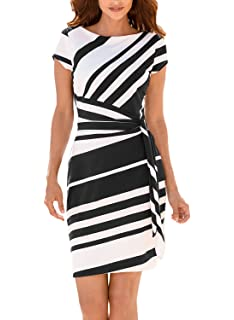 Annflat Womens Summer Stripe Short Sleeeve Knot Ribbon Tie Side O-Neck Sheath Dress