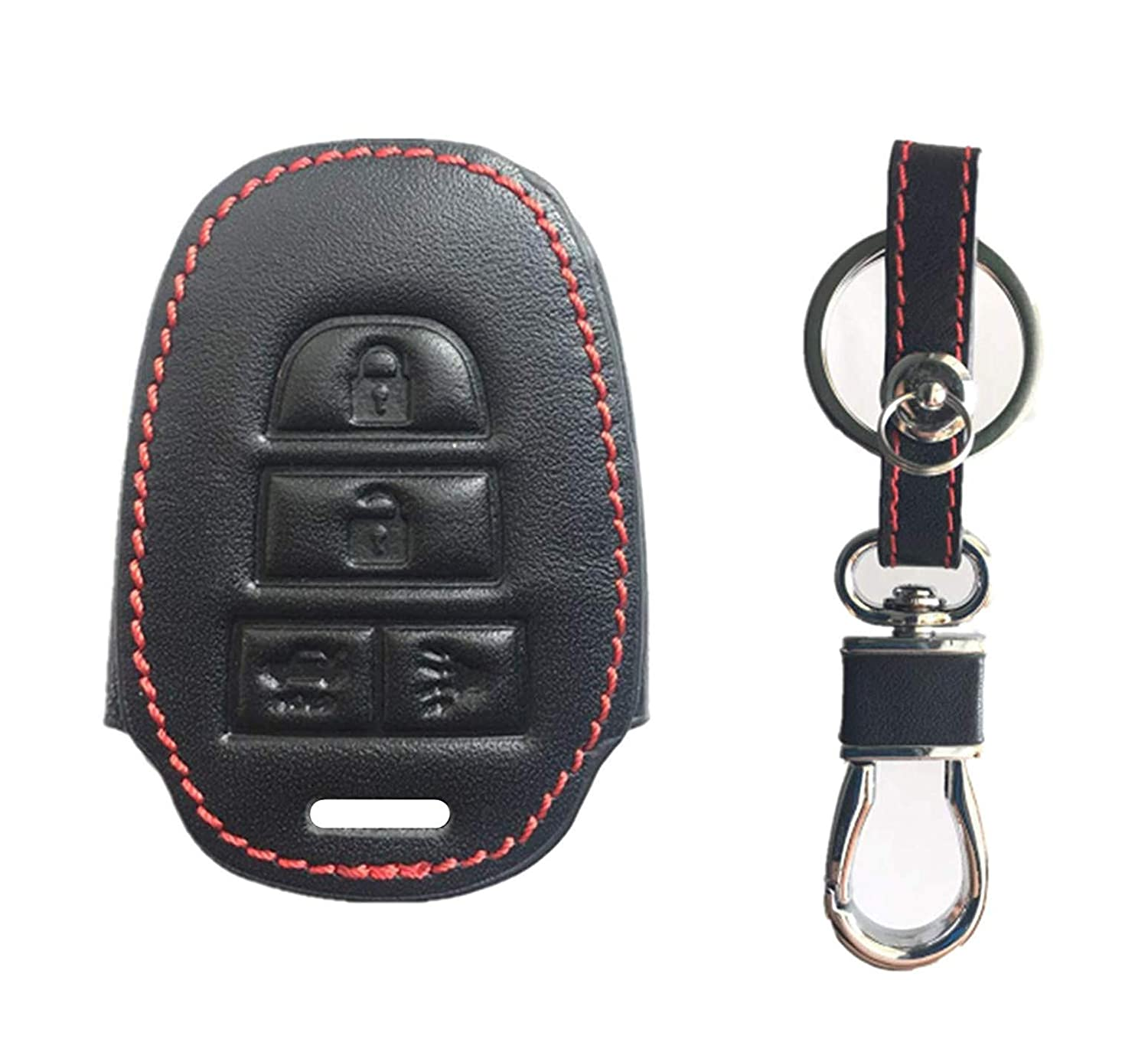 4 Btn KAWIHEN Smart Remote Keyless Entry Key Fob Leather Cover For 2012 2013 2014 2015 2016 2017 Toyota Camry 2014 2015 2016 2017 Toyota Corolla HYQ12BDM HYQ12BEL 1551A-12BDM 89070-06420