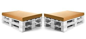 SUENOSZZZ-ESPECIALISTAS DEL DESCANSO Colchonetas para Sofas de Palet (2 x Unidades) Cojin Relleno con Espuma. Color Mostaza | Cojines para Chill out, ...
