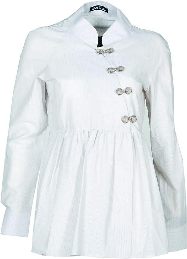 Ballalì – Camisa con alamares de tela de yeso de 100% algodón ...