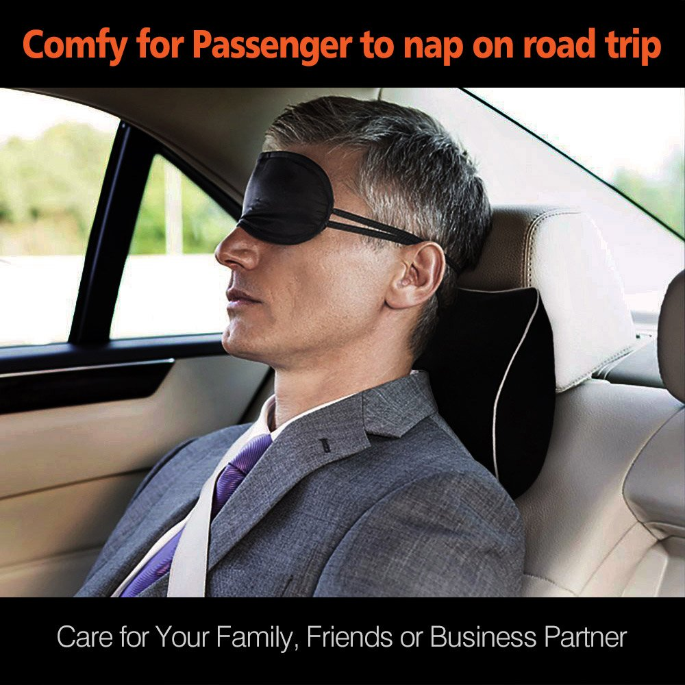 Car Neck Support Pillow for Neck Pain Relief When Driving,Headrest Pillow for Car Seat with Soft Memory Foam - Black by ComfyWay (Image #4)