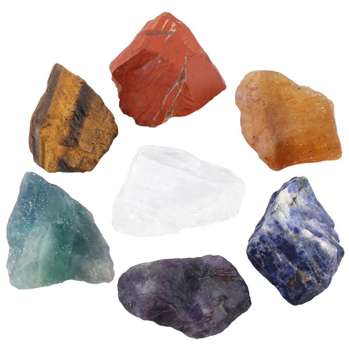 rockcloud Healing Crystal Kit,7 Chakra Stones Raw Crystals Reiki Blancing Meditation