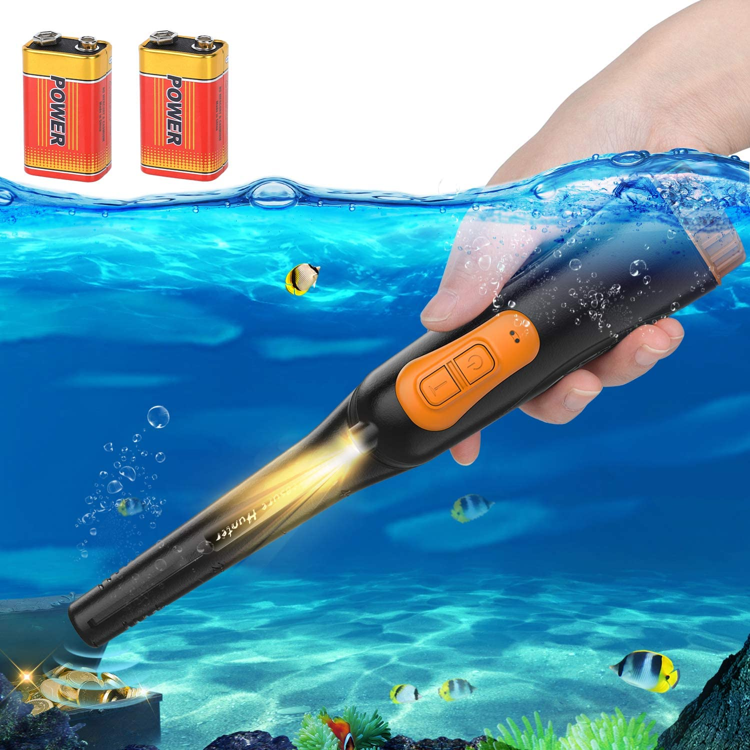 Portable Metal Detector Waterproof Metal Detector Handheld LED Indicator 360/° Scan Gold Detector with Buzzer Vibration Automatic Tuning for Kids Adults Orange