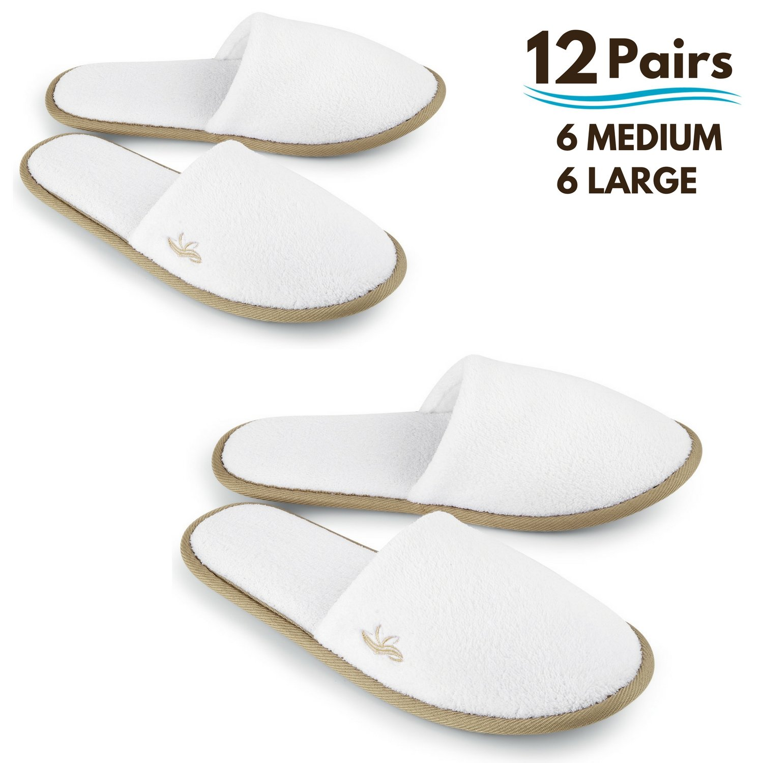 BERGMAN KELLY Spa Slippers, Closed Toe (White, Cocoa Trim, 12 Pairs- 6 Large, 6 Medium) Disposable Indoor Hotel Slippers for Men and Women, Fluffy Coral Fleece, Deluxe Padded Sole for Extra Comfort by BERGMAN KELLY