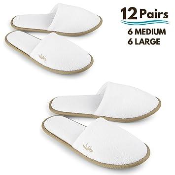 ae6ae6cfc29c0 BERGMAN KELLY Spa Slippers, Closed Toe (White, Cocoa Trim, 12 Pairs- 6  Large, 6 Medium)...