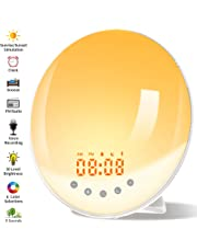 [2019 Upgraded] Wake Up Light, Nature Sunrise Simulation Alarm Clock, Recording Function, Snooze Function, 6 Colors Atmosphere Lamp, 9 Nature Sounds and FM Radio Clock for Kids Adults Bedrooms
