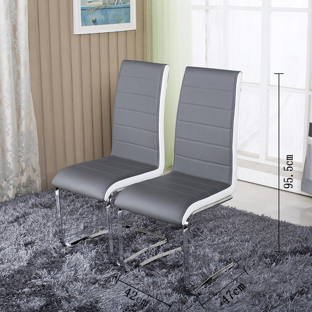 2X Stylish Faux Leather Grey Dining Chair Metal Seat Kitchen High Back Chrome Amazoncouk Home