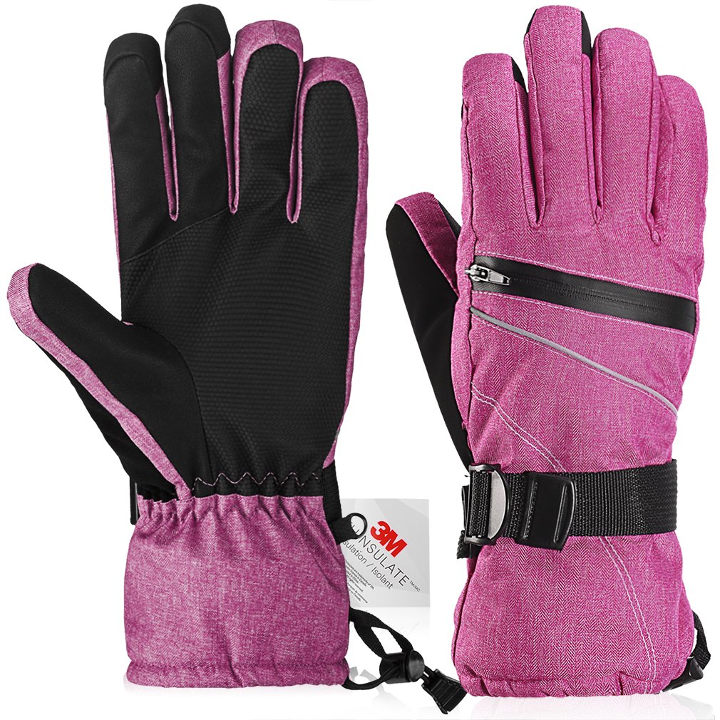 Ski Gloves?Fazitrip Windproof Waterproof Winter Gloves with/without Sensitive Touchscreen Function and Zipper Pocket for Women, 14M Thinsulate Insulation Idea for Skiing, Snowboarding and Cycling, Pink Med