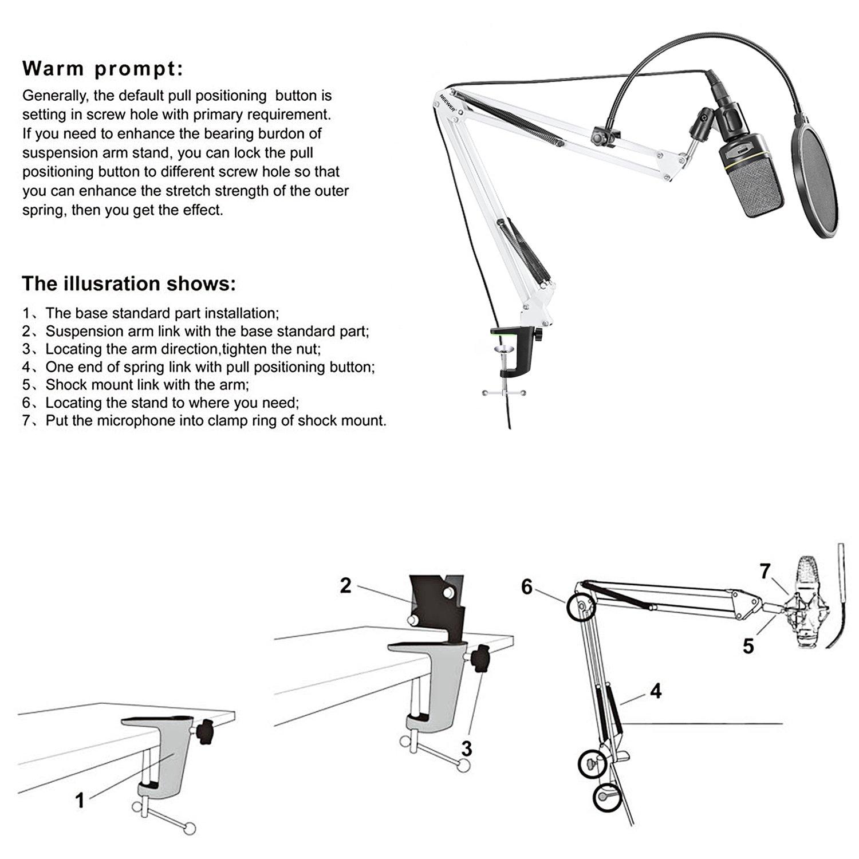 Neewer® NW-35 Bras articulé réglable 80cm pour microphone avec pince pour microphone et serre-joint pour plateau de table Bleu