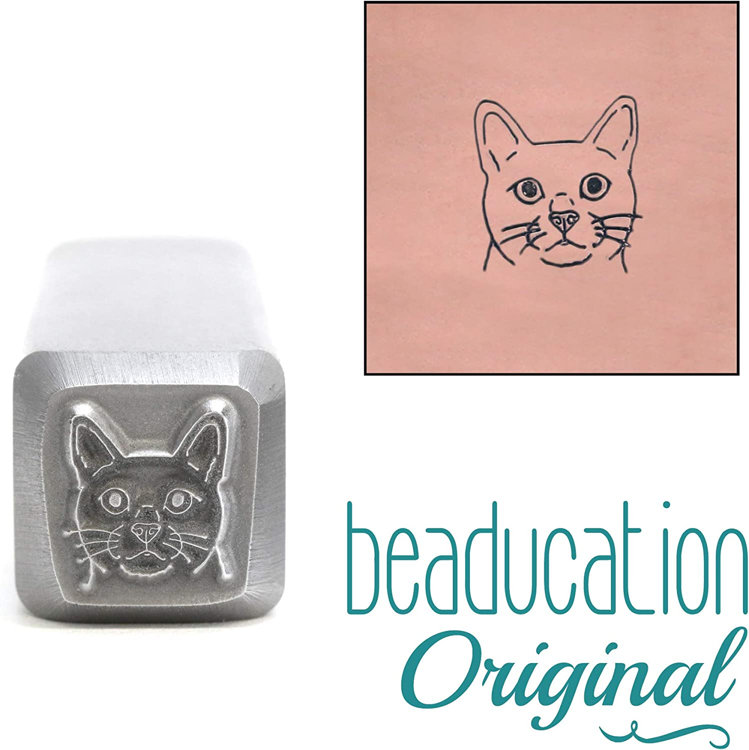 Beaducation Original Metal Design Stamps Cat Face Metal Design Stamp 8.5mm Feline Head Kitty Kitten Punch Stamping Tool for Hand Stamped DIY Jewelry Crafts