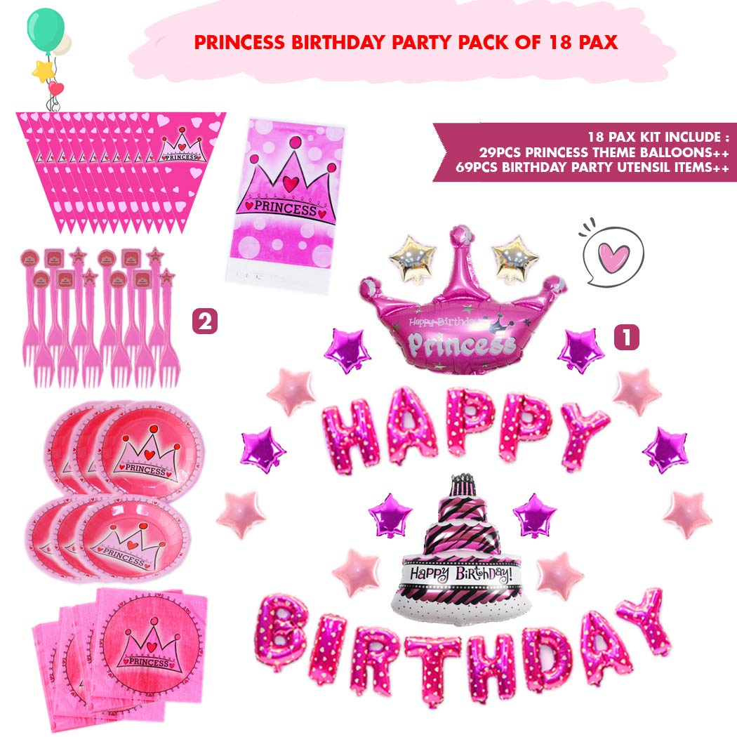 Plates /& Forks with Table Cover Great for First Baby Shower Celebration Pink Birthday Party Decoration Pack of 18 Pax Series Includes Napkin Varies Hanging Swirl and 29pcs Balloons Decoration