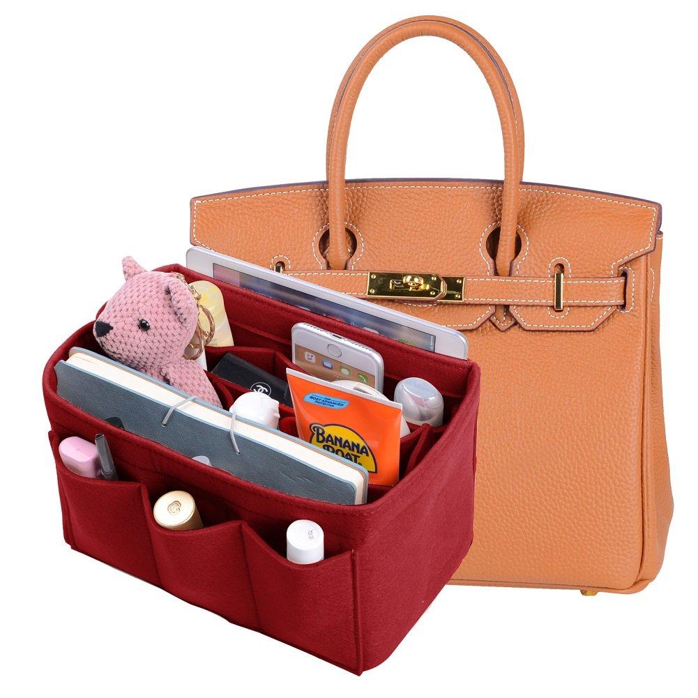 Felt Purse Organizer Insert New Design Bag Organizer With Sewn Bottom Insert Bag In Bag Organizer For Hermes Birkin35(Red)